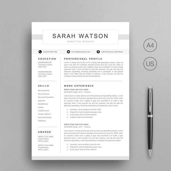 Modern Resume Template Instant Download