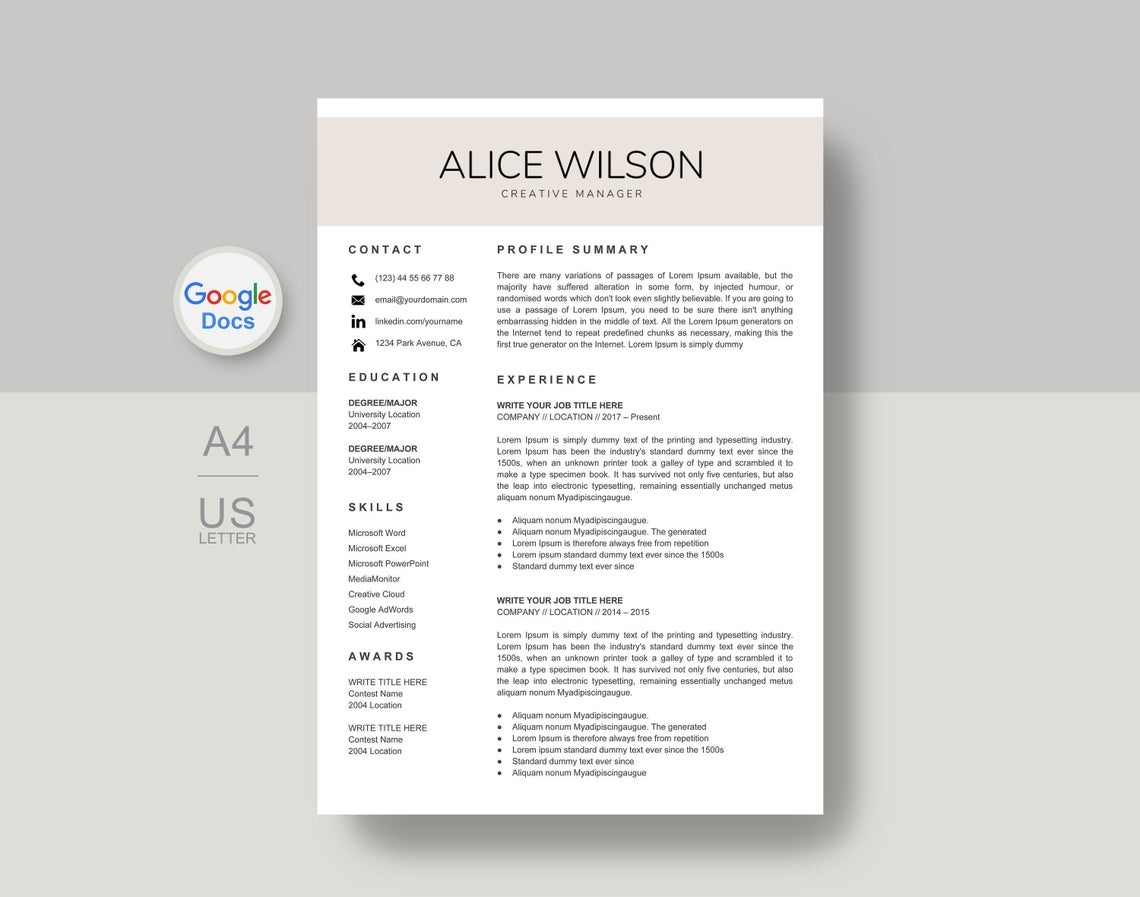 Alice google docs resume template