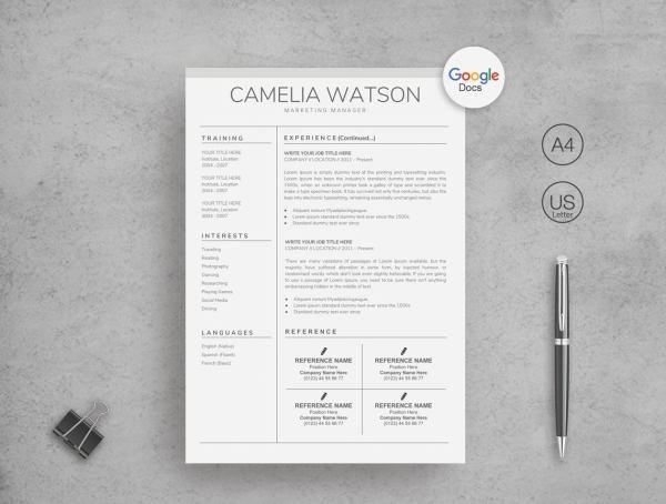 Modern Resume Template for Google Docs