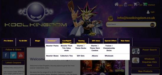 Mega menu opening in lightbox on Kool Kingdom's Sellerdeck website
