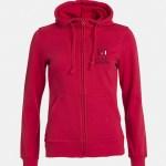 felpa hoody full zip donna rosso