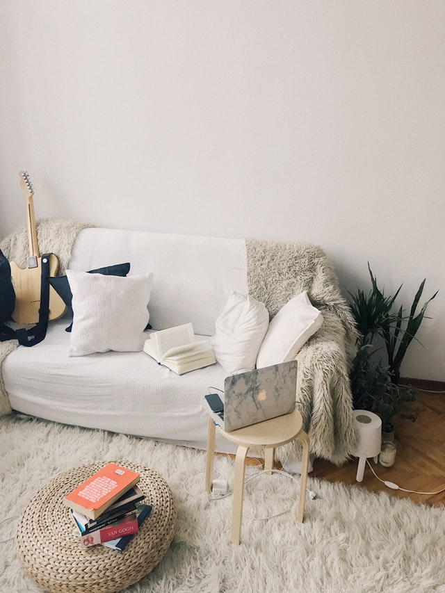 Ideas for Small Living Room with wooden stool and rug also plants