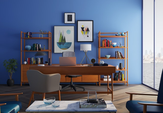 workstation ideas for kids with shelving and plant decor