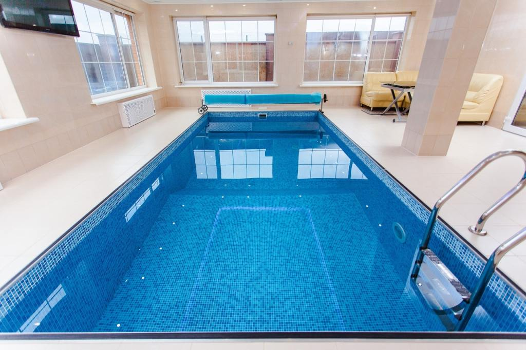 Private Pool at Home with blue tiles