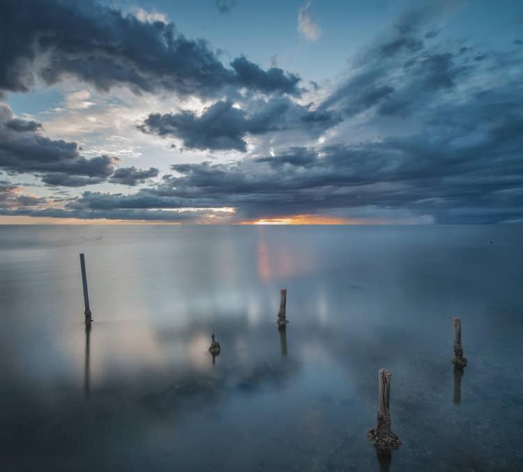 Ponton, Soleil couchant, Nuages, Pose longue, Clouds, Long exposure, Bleue, Artfreelance