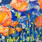 Midnight Poppies - Mixed media on metal - $750