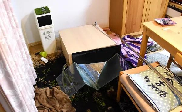 地震で倒壊した60cm水草水槽