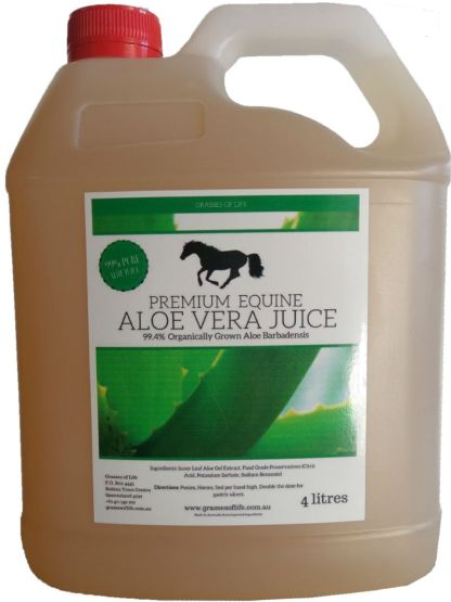 Grasses of Life Premium Equine Aloe Vera Juice 4 Litre for Animals