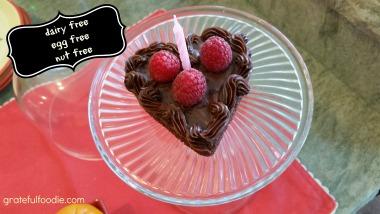 Dairy Free egg free nut free Chocolate Heart mini cake