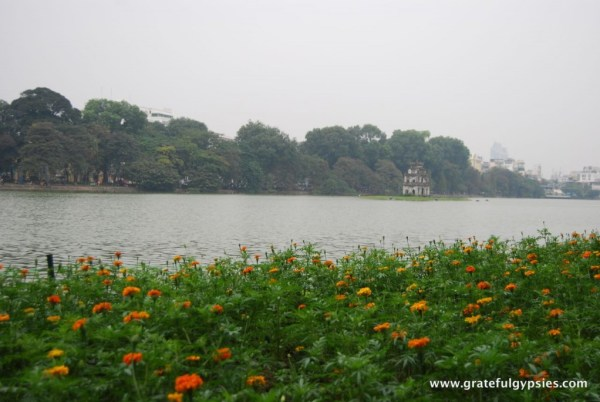 The Turtle Tower on Hoan Kiem Lake.