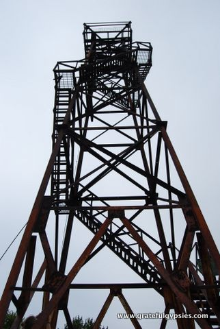 The creepy tower at the peak in the park.