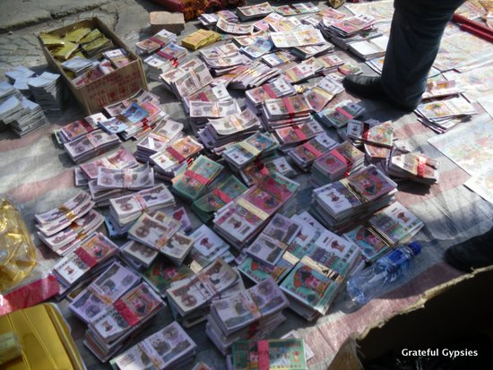 Fake money to be burned for Tomb Sweeping Day.