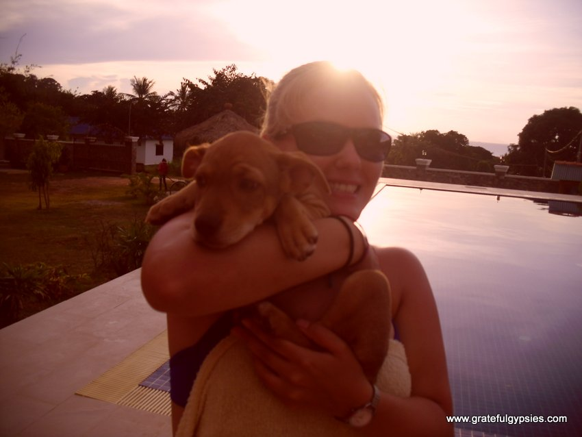 Rachel with Lola, the cute lil' puppy.