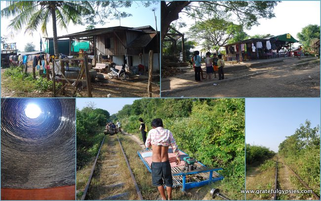 Collage of the village and sites on our Bamboo Train ride.