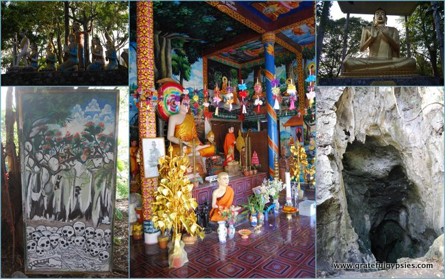 Collage of the killing caves and other Buddha statues on the walk up the hill.