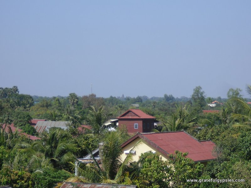 View from the watchtower. Angkor Wat is off in the distance.