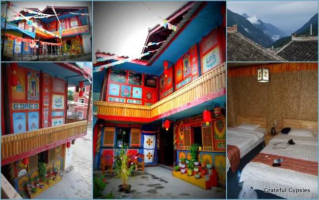 The Tibetan guesthouse near Jiuhzhaigou.