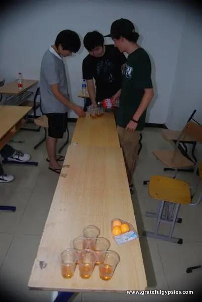 Beer pong in class!