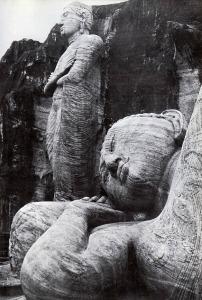 carved figures of Buddha at Polunnaruwa