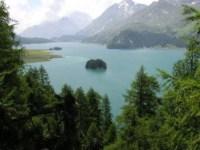 lake, mountains, trees