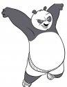 Immagine del panda che fa kung fu in bianco e nero