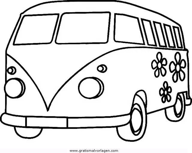 Bulli 3 Gratis Malvorlage In Autos Transportmittel Ausmalen