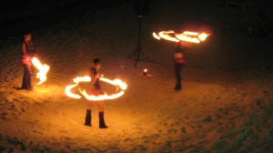 World-class fire spinners on the beach