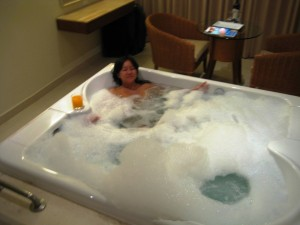 Bubble bath in our in-suite jacuzzi