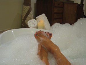 Happy feet in the in-suite jacuzzi