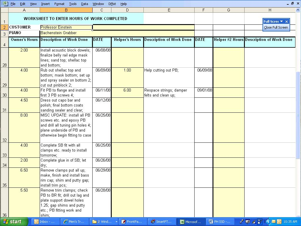 The Workhorse Daily Worksheet To Enter Shop Hours