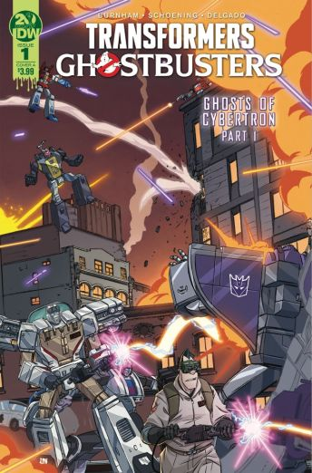 IDW Publishing's Transformers/Ghostbusters issue #1 cover A by Dan Schoening