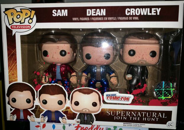 Funko Pop! Television Supernatural Sam, Dean, Crowley [Bloody, Metallic] 3-Pack