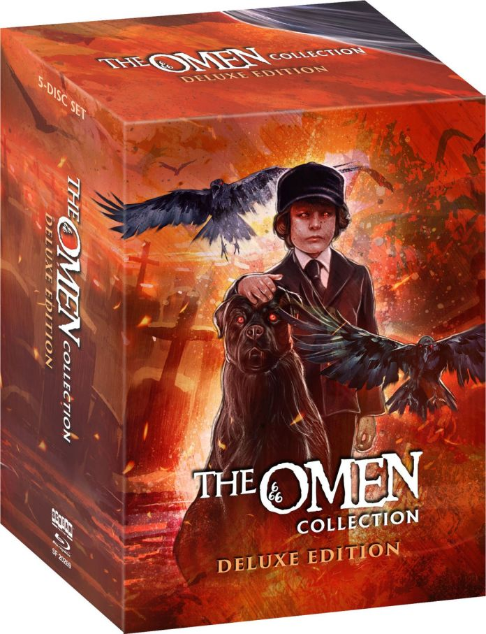 Scream Factory's The Omen Collection Deluxe Edition blu-ray set hard slipcover featuring Damien in a cemetery surrounded by his animal minions.