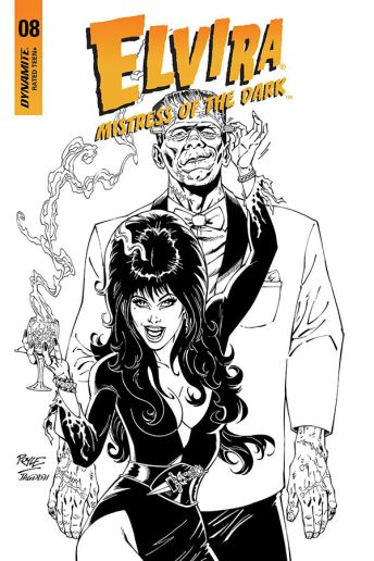 Dynamite Entertainment's Elvira: Mistress of the Dark Issue #8 Cover C (Black & White) by John Royle
