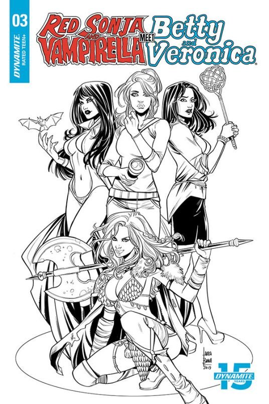 Dynamite Entertainment's Red Sonja & Vampirella Meet Betty & Veronica Issue #3 Cover C (Black & White) by Laura Braga