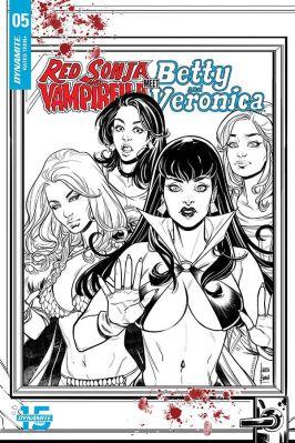 Dynamite Entertainment Red Sonja & Vampirella Meet Betty & Veronica #5 Cover C (Black & White) by Laura Braga
