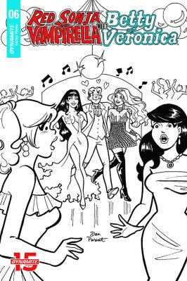 Dynamite Entertainment Red Sonja & Vampirella Meet Betty & Veronica #6 Cover D (Black & White) by Dan Parent