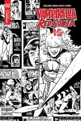 Dynamite Entertainment Vampirella/Red Sonja #2 Cover D (Black & White) by Leonardo Romero & Jordie Bellaire
