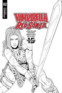 Dynamite Entertainment Vampirella/Red Sonja #2 Cover E (Black & White) by Drew Moss