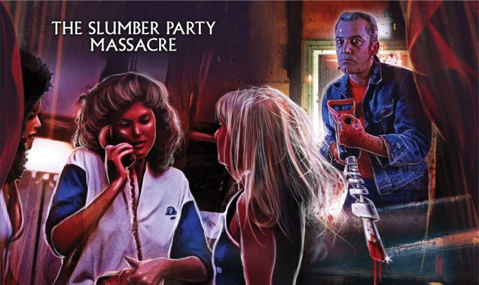 Scream Factory The Slumber Party Massacre (1982) Deluxe Limited Edition Steelbook Bluray Lithograph by Laz Marquez