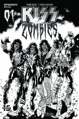 Dynamite Entertainment KISS Zombies Cover C (Black & White) by Rodney Buchemi
