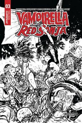 Dynamite Entertainment Vampirella/Red Sonja #3 Cover C (Black & White) by Daniel Warren Johnson & Mike Spencer