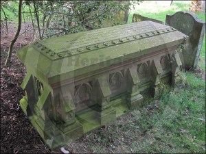 Elaborately carved chest tombstone of Thomas Addison M.D.