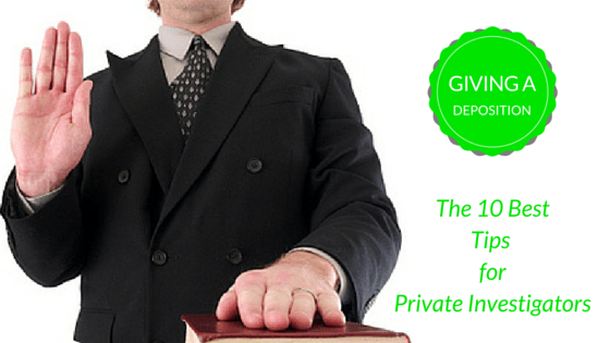 Private Investigator swearing oath for a deposition