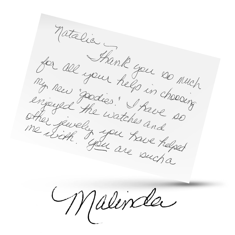 Malinda's Testimonial Card