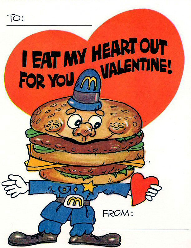 Vintage Valentines Day Cards From McDonalds And Burger