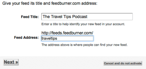 Feedburner podcast configuration title and address