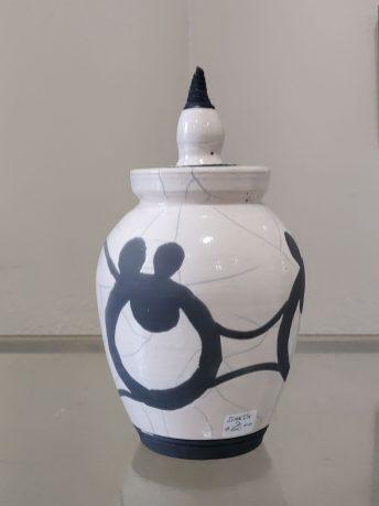 Grays Harbor Potters Guild Ganz Black and White Pot