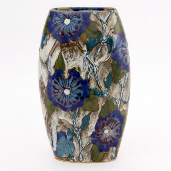 Blue Roses of Sharon Oval Vase