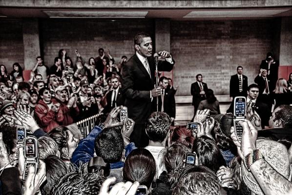 Obama, the new-fangled tribune of the people, Barack Obama greets the overflow crowd in Denver, Colorado Jan. 30, 2008.  (Chris Coleman, via flickr)